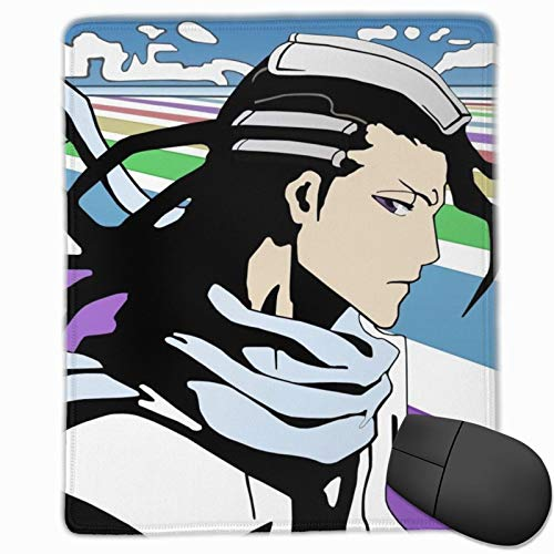 Durable Mouse Pad, Bleach Byakuya Kuchiki Anti Slip Gaming Mouse Pad with Stitched Edge, Smooth Customized Mousepad for Gaming Desktop Decor 10x12 in