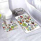 Badematten-Set Vektorkreis Mexikanischer Otomi-Stil Helles 2-teiliges Teppich-Set mit ovaler U-förmiger konturierter Toilette und Badteppichen, Badematten für das Bad Waschbar, rutschfest für die Ba