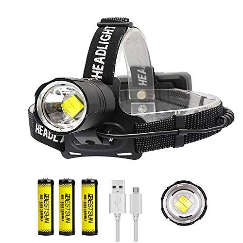 Linterna frontal LED XHP70, recargable 12000 lúmenes Linterna frontal LED XHP70 súper brillante Linterna frontal con zoom impermeable para correr, caminar, pescar, acampar (batería incluida)