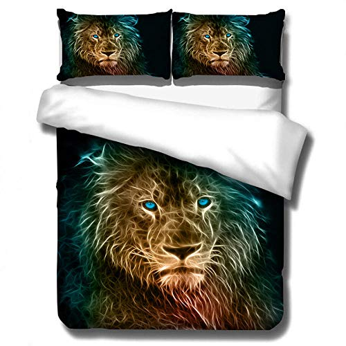 Gvvaceo 3D Bedding Set kingsize sets 240 x 220 cm Duvet Cover Set Pillowcase Bed Linen Bedclothes for Kids Adults Twin Full Queen King Size + 2 Pillowcase 50 X 75 cm Creative animal lion christmas