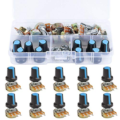 KINDPMA 10Pcs 10K OHM B10K Knurled Shaft Single Linear Potentiometer 3 Terminal Rotary Taper Potentiometer with Knob Cap Nuts and Washer for Arduino
