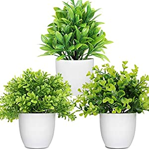 LELEE Artificial Potted Plants Mini Fake Plants, 3 Pack Small Eucalyptus Potted Faux Decorative Grass Plant with White Plastic Pot for Home Decor, Indoor, Office, Desk, Table Decoration