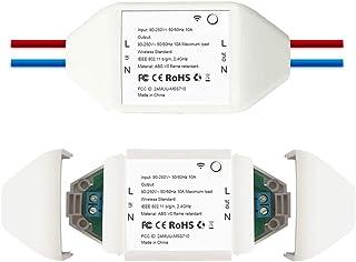 merossスマートスイッチ(2個セット)Wi-Fiスイッチ 電源コントロール IoT スマホでリモコン 【Amazon Alexa・Echo/Google Home/IFTTT対応可】 音声コントロール タイマー設定 定時ON/OFF ボタン開閉