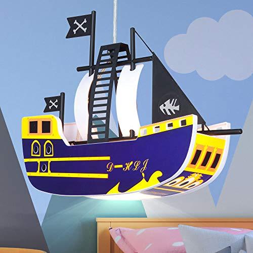 LED Kinder Pendel Decken Lampe Piraten Schiff Leuchte Jungen Mädchen Spiel Zimmer Beleuchtung