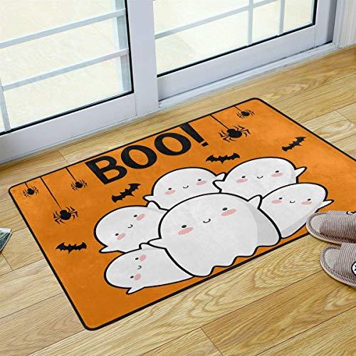 Mr.Lucien Felpudo de bienvenida con diseño de monstruos Boo para Halloween, para cocina, baño, porche, lavandería, sala de estar, lavable, 91,4 x 60,9 cm 2020162