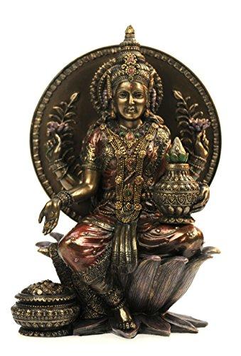 original Veronese, Lakshmi, Hindu Göttin des Glücks, der Liebe und des Wohlstandes auf Lotosthron, bronziert