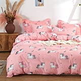 Uozzi Bedding Girls Duvet Cover Set 3 Pieces Twin 68x86 Cute Pattern Bedding Set (1 Pink Unicorn Duvet Cover+2 Pillow Shams) Polyester 800 TC Luxury Hypoallergenic with Zipper Closure, 4 Corner Ties