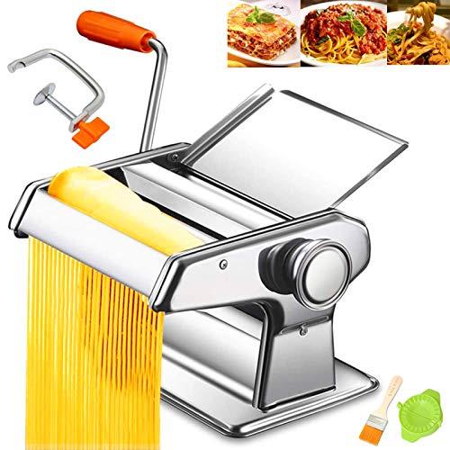 WHOVO Nudelmaschine aus Edelstahl, manuelle Nudelmaschine mit einstellbarer Dickeneinstellung und Tischklemme für Spaghetti, Fettuccini, Lasagne oder Knödelhaut