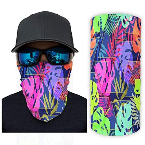 Bunte Palmblätter 12 in 1 Nahtlos Sturmhaube Feuchtigkeitsableitende Stirnbänder für Staub/Outdoor/Festivals/Sport für Frauen Männer White OneSize
