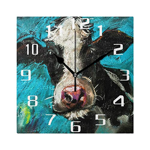 SEULIFE Wall Clock Art Painting Cow Animal, Silent Non Ticking Clock for Kitchen Living Room Bedroom Home Artwork Gift