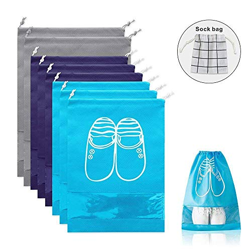 QOQO Travel Shoe Bags Waterproof Non-Woven with Rope, Shoes Storage Organizer Bags for Men and Women (8PCS with 1 Sock Bags for Travel)
