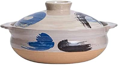 BAPYZ Ceramic Hot Pot Casserole Earthenware Clay Pot Serves 3 People,for Flame, Oven, Microwave