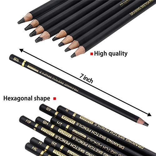TAMATA Professional Drawing Sketching Pencil Set - 12 Pieces Art Drawing Graphite Pencils(12B - 4H), Ideal for Drawing Art, Sketching, Shading, for Beginners & Pro Artists Photo #4