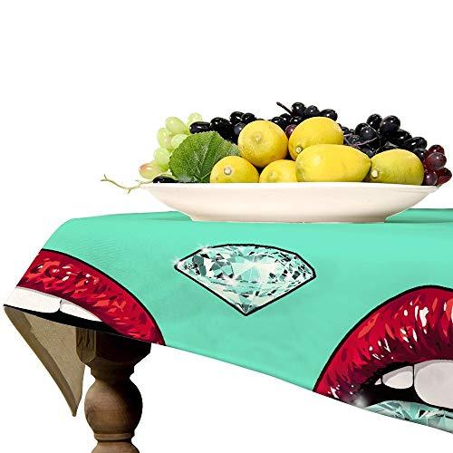 Diamond - Mantel rectangular de lino con labios rojos para decoración de mesa de cocina, comedor, 127 x 319 cm
