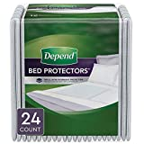 Depend Waterproof Bed Pads/Underpads for Incontinence, Disposable, 36' x 20.4', Overnight Absorbency, 24 Count (2 Packs of 12)