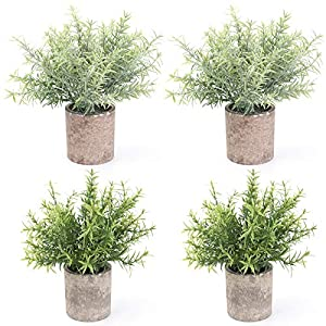 BOMAROLAN 4 Pcs Mini Potted Plastic Artificial Green Plants, Fake Topiary Shrubs Fake Plant, Small Faux Greenery, for Bathroom Home Office Desk Decorations (Bamboo Leaves)