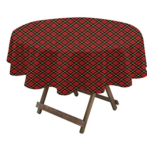 Geometric Dining Table Cover Traditional Scottish Plaid Pattern Tartan Tile Checked Striped Retro Print - Great for Buffet Table, Parties, Holiday Dinner & More Red Black Yellow | 70' Round