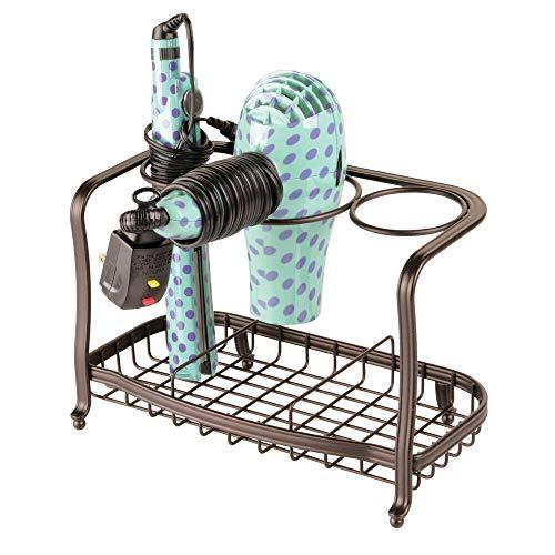 mDesign Soporte para secador de pelo de pie y sin taladro – Soporte para plancha de pelo, secador, cepillos y otros productos de peluquería – Cesta de rejilla de metal para el baño – bronce