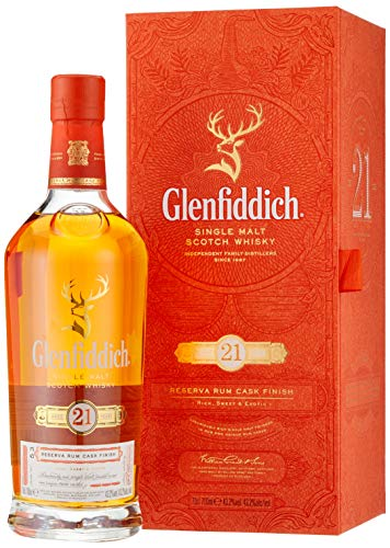 Glenfiddich Single Malt Scotch Whisky Reserva 21 Jahre – besondere Variante des meistverkauften Malt Sctoch Whisky der Welt mit Geschenkverpackung,  1 x 0,7l, 40% Vol.