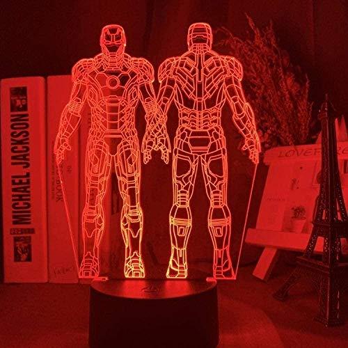 YOUPING - Lámpara 3D Iron Man Armor figura LED nocturna para niños dormitorio decoración Superhero Night Light Cool regalo de Navidad para niños -Mw21_16 colores con mando a distancia