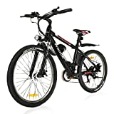 Vivi Electric Bike For Adults 26' Mountain Bike with 350W Motor, Removable 36V/8Ah Battery/21-Speed Gears/15.6 Mph/Recharge Mileage Up to 25 mile, Adjustable Height (Black)