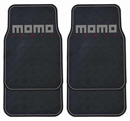 MOMO Carpet Car Mats PVC, Black/Grey, Full Set of 4