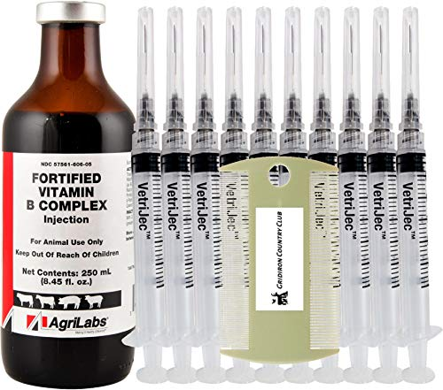 Multi—Animal Fortified Vitamin B Complex, 250 mL (Value Pack) with (10) 3 mL/cc Luer Lock Syringes 22g x 1.0' Needle & Caps + Complimentary Gridiron Dual Pet Comb