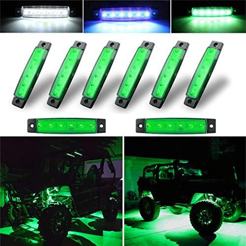 Botepon 8Pcs Led Rock Lights, Strip Lights, Wheel Well Lights, Led Underglow Lights for Trucks, Golf Cart, Jeep Wrangler, RZR, Offroad, F150, F250, Snowmobile (Green)
