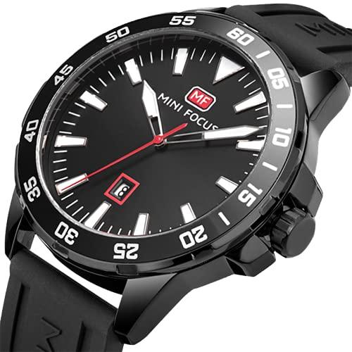 Reloj de pulsera para hombre, resistente al agua, de acero inoxidable, para hombre, estilo clásico, informal, minimalista, deportivo, moderno, con fecha automática, Negro Completo,