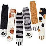TTCPUYSA 6 Pairs Cat Paw Socks,Coral Fleece Socks Super Soft Plush Slipper Sock Casual Cozy Fluffy Socks for Women