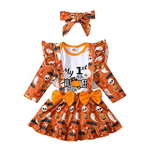 Geagodelia - Set di 3 vestiti a maniche lunghe con bretella, fascia per gonna a zucca, Arancione, 6 mesi