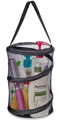 "Dorm Shower Caddy – 8"" X 12"" - Carry Your Personal Care Items Right Into the Shower. Great for College Dorm Life, Gyms, Camping and Travel. Folds Flat for Easy Storage When Not Needed. (Black)"