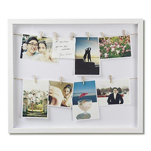 Umbra Clothesline Multibilderrahmen vertikal mit 12 kleinen Wäscheklammern für Fotos oder Notizen, Holz, Weiss, Normal