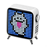 CYC Bluetooth Pixel Wecker Radio Mit Bluetooth, Tragbares Radio Mit 8000Mah Akku, Unterstützt USB/TF-Karte/Zusatzfunktion,Weiß
