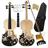 Aliyes Distinctive Artistic Violin Set Designed for Beginners/Students/Kids/adults with Hard Case,Bow,Rosin,Extra Strings (4/4/Full-size)
