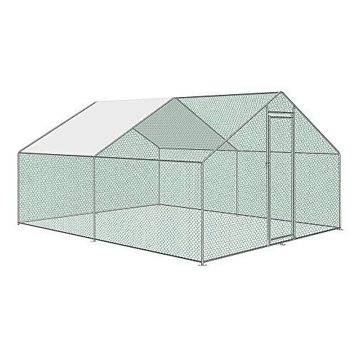 AufuN Freilaufgehege Hühnerstall mit Schloss, Verzinkter Stahlrahmen, PVC-beschichtetes Schatten Dach für Hühnerkäfig Geflügelstall Vogelkäfig Kleintiere, 3 x 4 x 2m