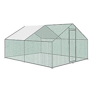 Aufun Freilaufgehege Hühnerstall mit Schloss, Verzinkter Stahlrahmen, PVC-beschichtetes Schatten Dach für Hühnerkäfig…