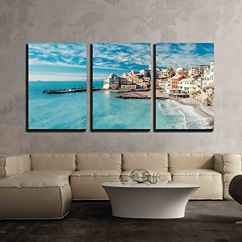 "wall26 - View of Bogliasco Italy - Canvas Art Wall Decor - 24""x36""x3 Panels"