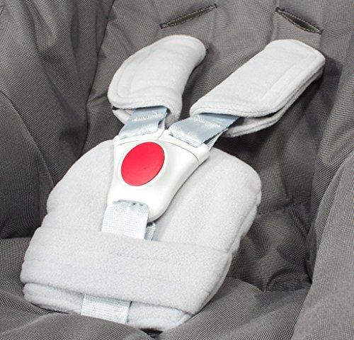 ByBoom® - Gurtpolster Set - universal für Babyschale, Buggy, Kinderwagen, Autositz (z.B. Maxi Cosi City SPS, Cabrio, Cybex Aton usw.); In vielen Farben; MADE IN EU, Farbe:Grau