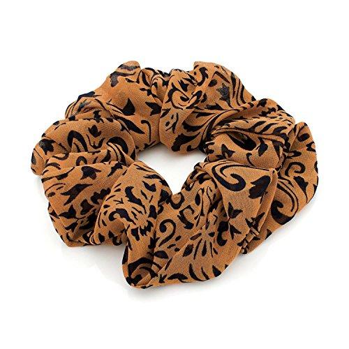 Chocolate Pickle® Nouveau Femmes Plain Multicolore Animal Fleur Imprimé Satin Cheveux Scrunchie Cheveux Accessoires Brown N Black 28808