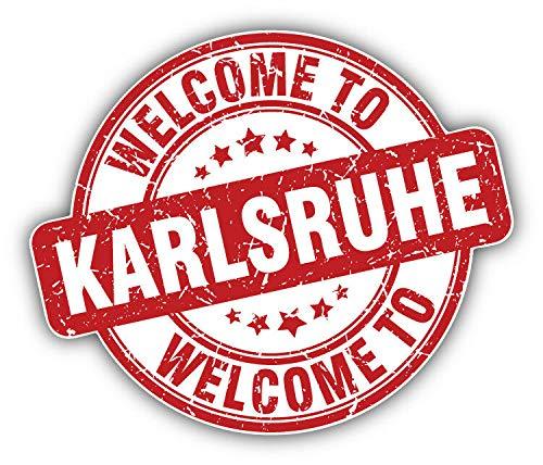 Karlsruhe Grunge Welcome Travel Stempel Vinyl Aufkleber für Laptop Kühlschrank Gitarre Auto Motorrad Helm Werkzeugkiste Koffer Taschen 10,2 cm breit, Vinyl, Multi, 10 Inch In Width