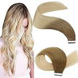 YoungSee 14 Pouces Extension Bande Adhesive Cheveux Naturel Pas Cher #6/613 Brun Moyen a Bleach Blond Balayage Extension Adhesive Cheveux Humain Tape in Extension 20pcs/50g