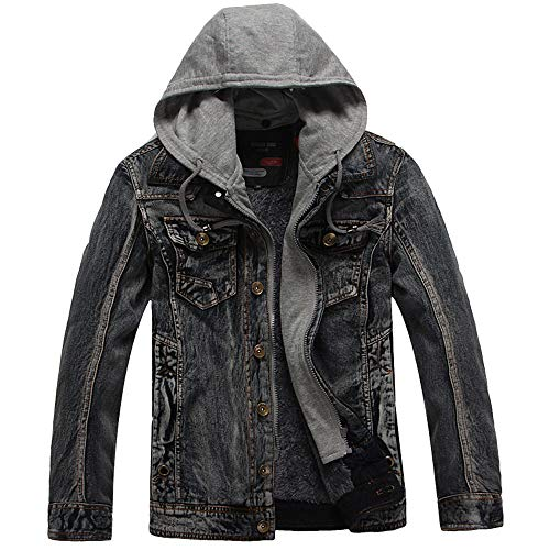 Daoroka Mens Hoodies Denim Jacket Wind Autumn Winter Wash Distressed Thick Warm Coat Long Sleeve Zipper Pocket Coat Fashion Casual Outwear