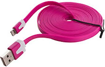 NTJ Flat USB Data Sync Charger (3ft, 6ft or 10ft Lengths and 10 Colors) (Hot Pink (10FT))