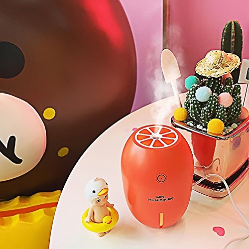 CLICTECH 180ml (Orange) Lemon Shaped Mini Portable Cool Mist Humidifier for Office, Home and Car Use, with USB Charge 4 Hours Auto Shut- Off, Best Travel Partner