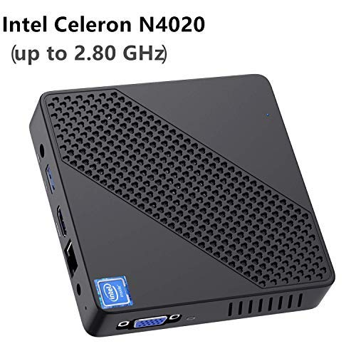 Mini PC Lüfterlos Intel Celeron N4020 (bis zu 2,8 GHz) 4GB DDR4/64GB eMMC Mini-Desktop-Computer Windows 10 HDMI- und VGA, 2,4/5,8 G WiFi BT4.2 3xUSB3.0,M.2 2242 SSD,Auto Power On