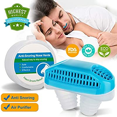 Anti Snoring Devices, Nose Vent Plugs, Snoring Solution and Air Purifier Filter Nasal Dilators Stop Snoring Devices Snore Stopper Nose Vent Clip Sleep Aid for Cometable Sleeping Breathing Women Men