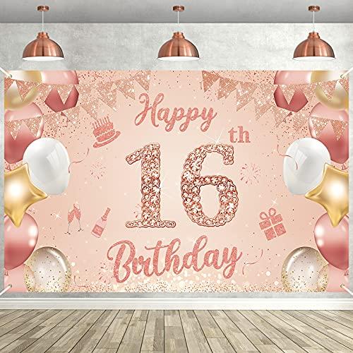 16. Geburtstag Mädchen Deko, Roségold Banner 16 Geburtstag Extra Große Stoff Hintergr& Banner Geburtstag Happy Birthday Banner für Mädchen Frauen Geburtstagsdeko Fotoautomat Home Decor 185*110cm