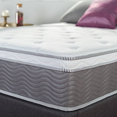 Zinus 12 Inch Support Plus Pocket Spring Hybrid Mattress with Euro Top/Extra Firm Feel/More Coils for Durable Support/Pocket Innersprings for Motion Isolation/Bed-in-a-Box, King