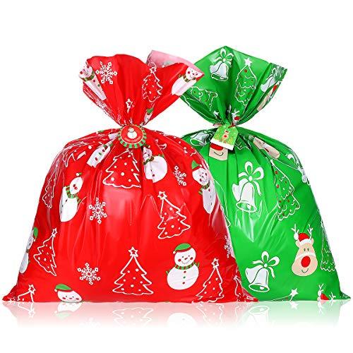 Hemoton 4 bolsas de regalo de Navidad gigantes, 91 x 109 cm, bolsa de regalo grande de plástico, bolsa de regalo de Navidad para niños con tarjeta y cordón